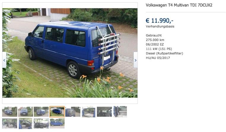 VW Bus T4 mit Schaden links nicht zu erkennendem Schaden linsk inseriert