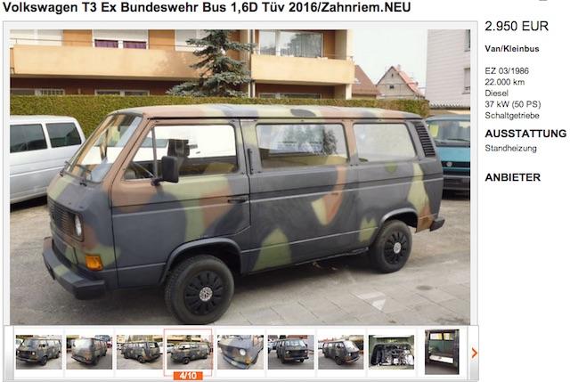 VW Bus VEBEG Auktion Bundeswehr Angebot privat