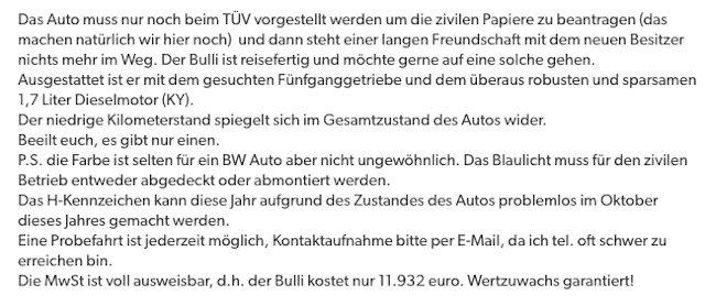 Wertzuwachs garantiert VW Bus ex Bundeswehr kaufen
