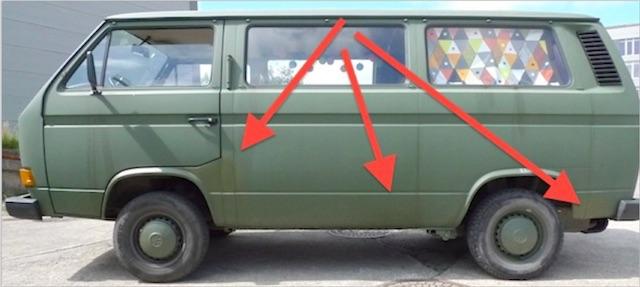 moderat nachgebsserter Bundeswehrrückläufer VW Bus