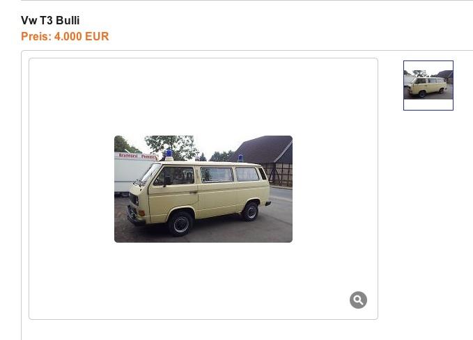 wie inseriere ich meinen VW Bus richtig hier ein schlechtes Beispiel eines Anzeigenbildes