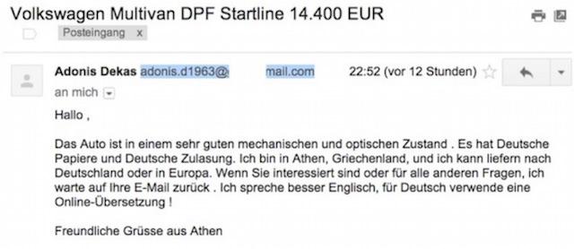 Antwort e mail VW Bus T5 Fake Angebot aus Griechenland