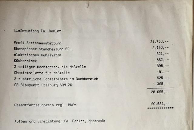 T3 Dehler Neuwagenbestellung 1986 Seite 2 von 2 Gesamtpreis