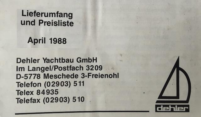 T3 Dehler Preisliste Stand April 1988 Umschlagsseite