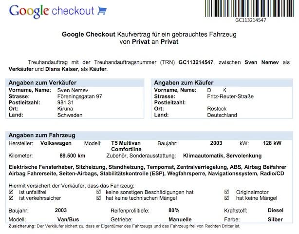 VW Bus Betrug mittels google check account Verträgen Abbildung 1 von 3