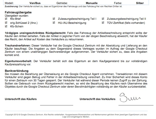 VW Bus Betrug mittels google check account Verträgen Abbildung 2 von 3