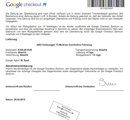 VW Bus Betrug mittels google check account Verträgen Abbildung 3 von 3