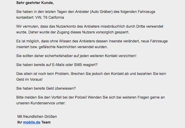 Vw Bus Fake Angebot Account Gesperrt Quelle Mobilede Buschecker