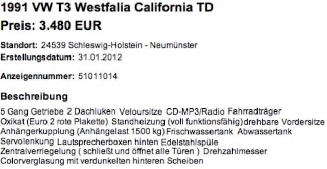 VW Bus T3 HochDachCamper Westfalia FAKE Angebot Preisschild