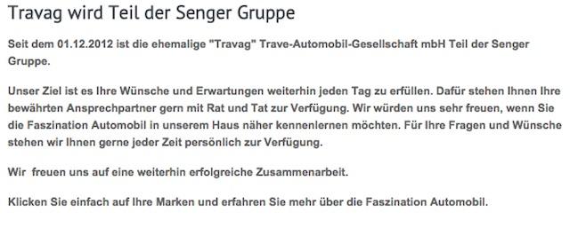 VW Händler Travag geht in die Senger Gruppe über ehemaliger Dehler Stützpunkthändler und Sehlerservicepartner
