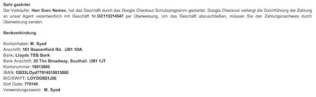 google check account schutzprogramm gestartet gut getarnter Versuch einer Abzocke mittels VW Bus Verkauf