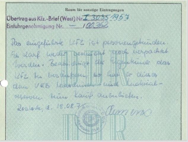 Eintrag VEB Fahrzeug und Maschinenreserve DDR im Fahrzeugbrief VW Bus T1 Scheunenfund