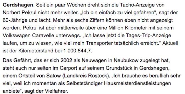 Mecklenburger Km Millionaer VW Bus T4 Quelle Ostseezeitung