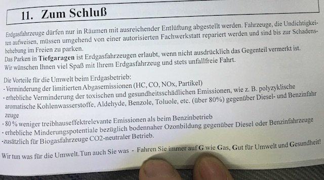 Schlusswort Betriebsanleitung Reduktion Emissionen durch VW Bus mit Gasumbau