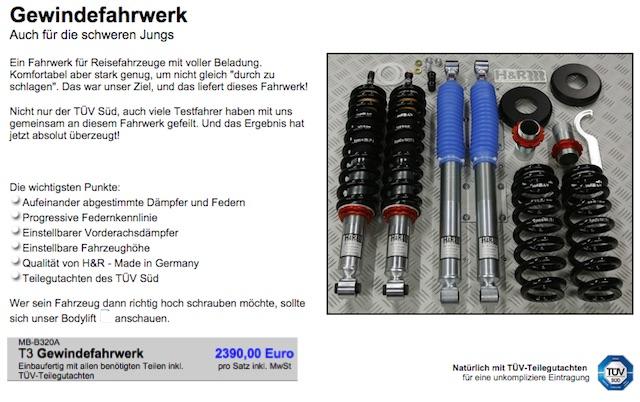 T3 Gewindefahrwerk copyright GMB Blechbearbeitung GmbH & Co. KG