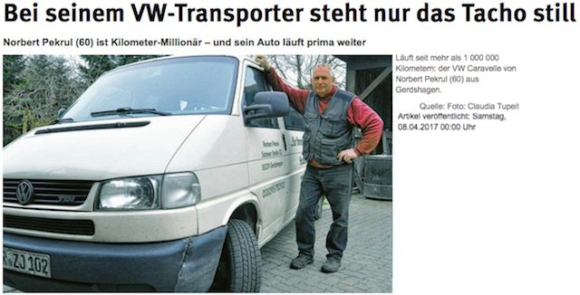 VW Bus 1000000 Km Quelle Ostseezeitung fotocredit claudia tupeit