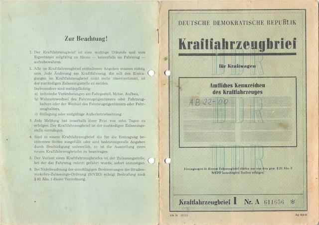 VW Bus T1 Scheunenfund Fahrzeugbrief der DDR Umschlagsseite