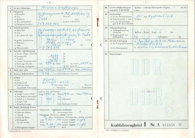 VW Bus T1 Scheunenfund technische Daten im Fahrzeugbrief der ehemaligen DDR