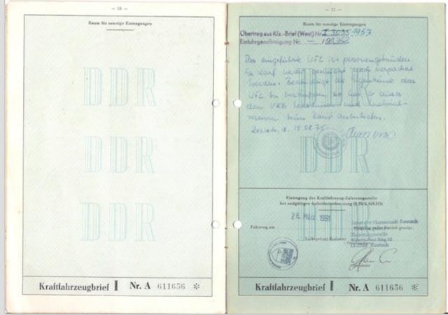 VW Bus T1 Scheunfund original Fahrzeugbrief aus der ehemaligen DDR