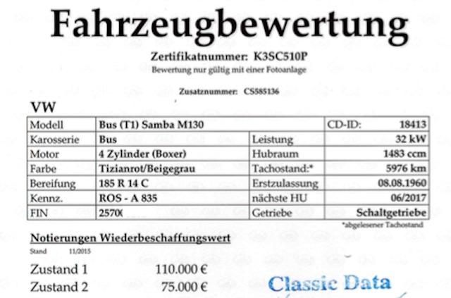 VW Bus T1 Wertgutachten erstellen mit dem Bus Checker Seite 1 von 2