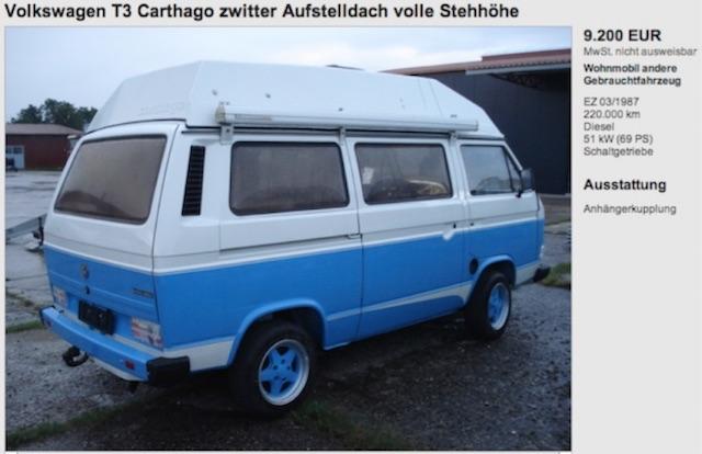 VW Bus T3 Blender Händler haut regelmässig Angebote raus