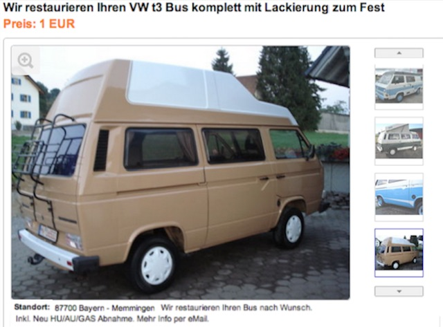VW Bus T3 Restauration ab 1 Euro