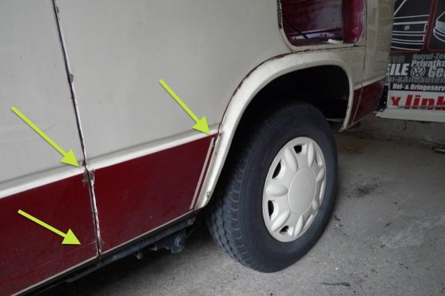 VW Bus T3 Seitenteil Rost einfach übergespachtelt