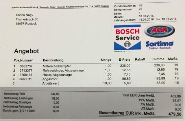 VW Bus T5 Auspuffanlage erneuern Angebot Bosch Service