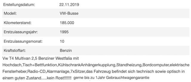 Inserat VW Bus T4 Berlin Blender erkennen und meiden Erfahrungen BusChecker
