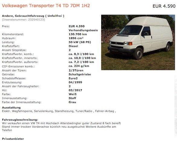 T4 1.9 TD hoch lang budget Camper kaufen mit dem Bus Checker