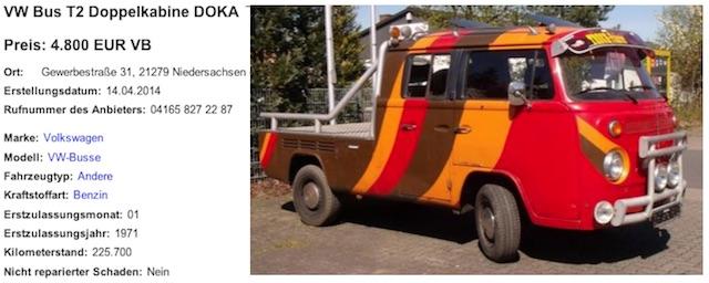 VW Bus T2 DoKa Show Car gefunden bei Birk Mamerow