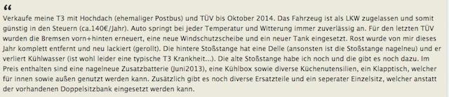 VW Bus T3 Inserate richtig deuten mit dem BusChecker
