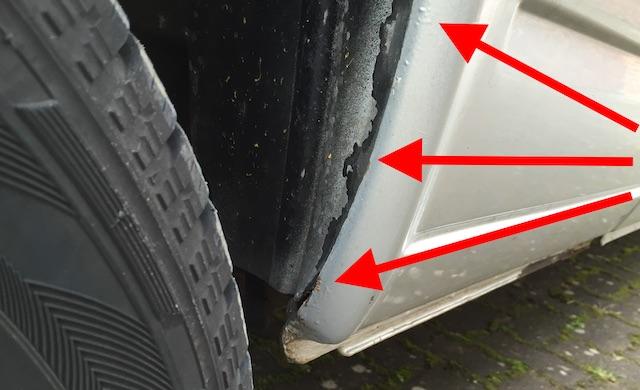 VW Bus T4 Kantenrost Radhaus hinten nach frischer Lackierung