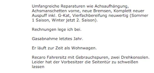 VW Bus T4 hoch und lang Inserat Schiebetür zugeschweisst