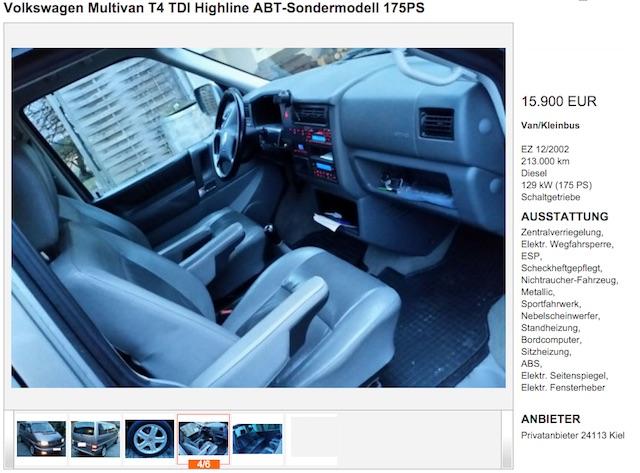 Inserat VW Bus T4 Wertanlage mit dem BusChecker finden