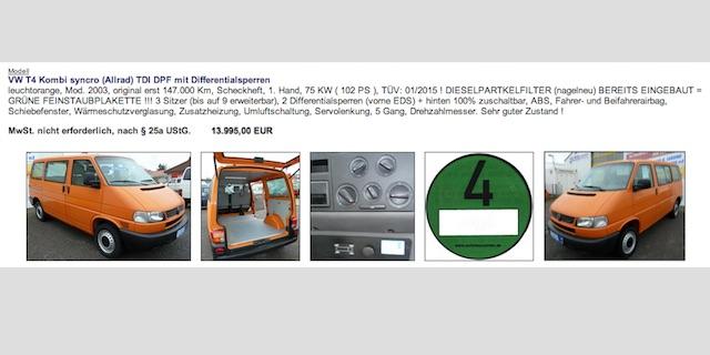 VW Bus T4 Syncro ehemals Vermessung Erfahrungen