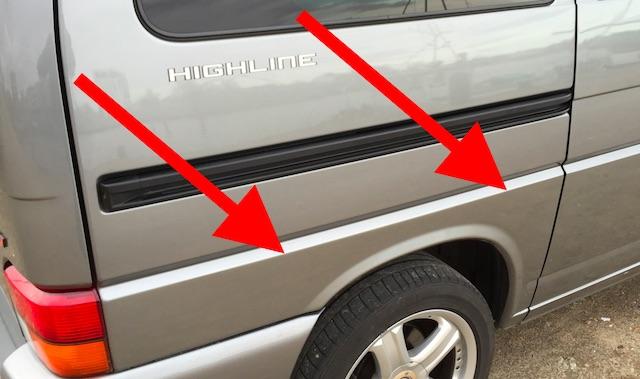 VW Bus T4 Wertanlage Seitenteil rechts unterhalb lackiert