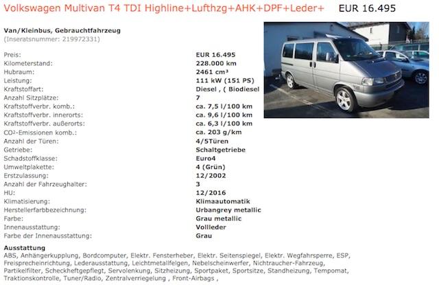 VW Bus T4 high line mit Leder Kaufberatung BusChecker