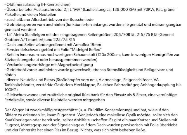 VW Bus T3 Syncro Inserate Check Erfahrungen BusChecker