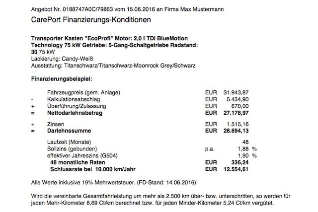 Angebot Neuwagen T6 Kasten von FSN frei bleibend