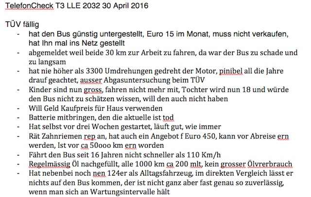 VW Bus T3 Last Limited 2032 TelefonCheck Seite 1 von 2