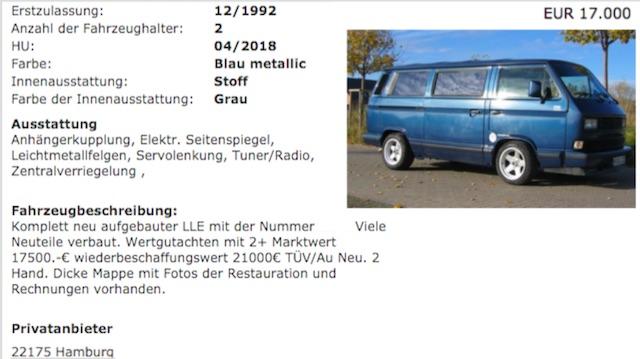 VW Bus T3 Last Limited komplett neu aufgebaut