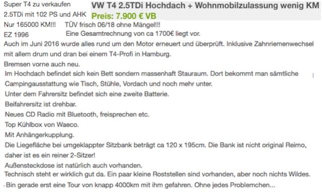Inserate VW Bus T4 Camper checken mit dem VW Bus Gutachter online kostenlos