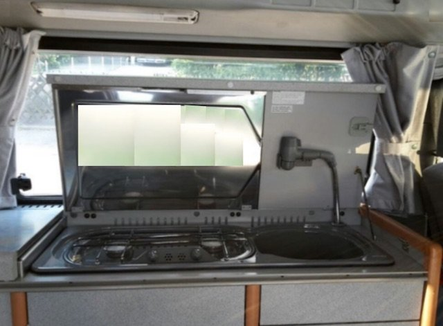 VW Bus T4 Camping Ausstattung Schrank mit Herd und Spuele