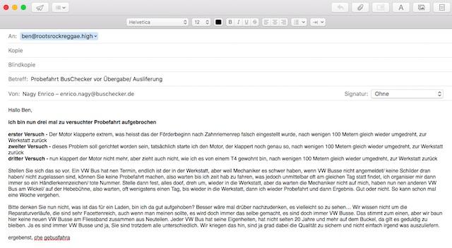 e mail Probefahrt Auslieferung BusChecker