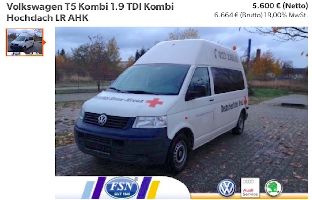 Inserat VW Bus T5 Hochraumkasten kurzer Radstand