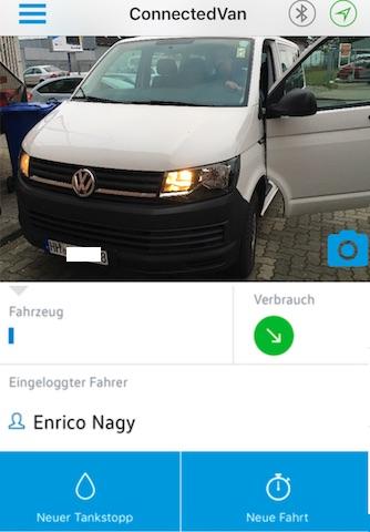 connectedVan app mit Fahrer BusChecker