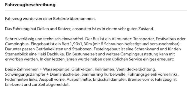 VW Bus Inserat Beschreibung zutreffenend