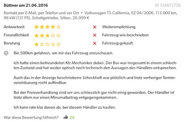 Bewertung Transporter Verkauf Karlstadt