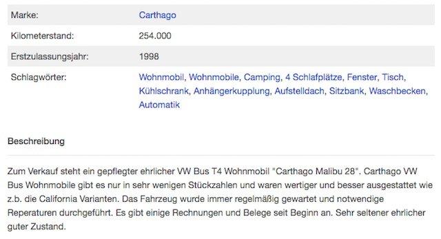 Carthago Malibu kaufen Inserate Check online kostenlos VW Bus Checker